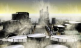 Overklig industriområde Arkivbilder