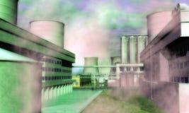 Overklig industriområde Arkivbild