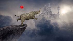 Overklig noshörning, noshörning, fantasislott vektor illustrationer