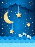 Overklig seascape med månen och stjärnor stock illustrationer