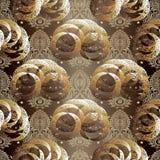 Overladen abstract grunge vector naadloos patroon Gouden flo van Paisley stock illustratie