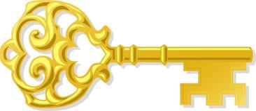 Overladen Antieke Gouden Sleutel Stock Fotografie