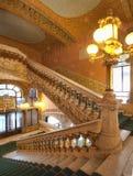 Overladen binnenlands ontwerp van hal in Palau DE La Musica, Barcelona, Spanje, 2014 royalty-vrije stock afbeelding