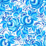Overladen blauw en wit bloemen naadloos patroon stock illustratie