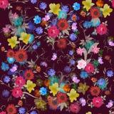 Overladen bloemen naadloos patroon met rozen, kosmos en klokbloemen, daglelie, maagdelijke wijnstok, madeliefje en cactus vector illustratie