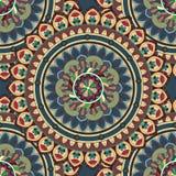 Overladen bloemen naadloze textuur, eindeloos patroon met uitstekende mandalaelementen Royalty-vrije Stock Afbeelding