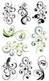Overladen bloemenwervelingsreeks Royalty-vrije Stock Afbeelding