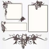Overladen frames met druivenbladeren en wijnstok Stock Foto