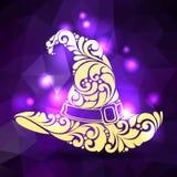 Overladen gevormde heksenhoed en magische lichten vector illustratie