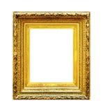 Overladen gouden houten die kader op wit wordt geïsoleerd Stock Fotografie