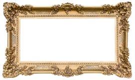 Overladen gouden houten kader als geïsoleerde origineel royalty-vrije stock foto