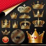 Overladen gouden koninklijke kronen Stock Afbeeldingen