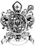 Overladen heraldische schilden Royalty-vrije Stock Foto's