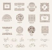 Overladen kaders en Inzameling van ontwerpelementen, etiketten, pictogram voor verpakking, ontwerp van luxeproducten Vector Royalty-vrije Stock Foto's
