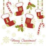 Overladen Kerstkaart met kous Stock Fotografie