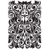 Overladen met gestileerde vlinder Bloemenachtergrond met werveling en bladeren Royalty-vrije Stock Afbeeldingen