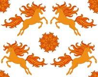 Overladen naadloos patroon met gestileerde paarden en bloemen in bohostijl Vectorontwerp voor stof, Web, druk Royalty-vrije Stock Afbeeldingen