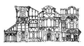 Overladen oude geschetst veranderde gebouwen, digitaal, zij aan zij Stock Foto