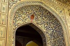 Overladen patroon op de boog van het Paleis van Jaipur Stock Foto's