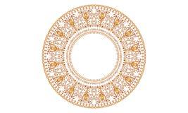 Overladen vectorplaat met oostelijk, Arabisch stijl cirkelornament royalty-vrije illustratie
