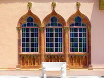 Overladen Venetiaanse Gotische vensters, Museum Ringling stock foto's