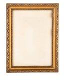 Overladen verguld antiek die pirturekader op wit wordt geïsoleerd stock afbeelding