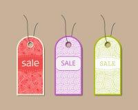 Overladen verschillende geplaatste verkoopmarkeringen Vector illustratie Royalty-vrije Stock Afbeeldingen