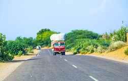 Overland bus at the Jodhpur Highway in Rajasthan, India Stock Photography