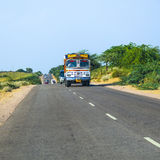Overland bus at the Jodhpur Highway in Rajasthan, India Stock Images