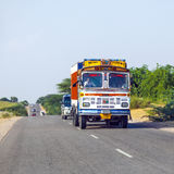 Overland bus at the Jodhpur Highway in Rajasthan, India Stock Photos