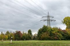 Overland high voltage transmission line, Germany Royalty Free Stock Images