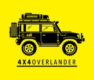 Overland off-road 4x4 all-terrain 4wd suv safari vehicle. Extreme off-road 4x4 all-terrain suv vehicle. Overland adventure 4wd expedition sports utility safari Stock Illustration
