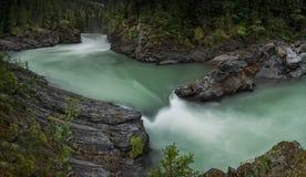 Overlander Falls Panorama. Overlander Falls,  Fraser River, Mount Robson Provincial Park near Valemount, British Columbia Stock Image
