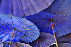 Overlap Blue Umbrella Royalty Free Stock Image