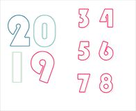 Overlapped outline 2019 and number - Vector royalty free illustration