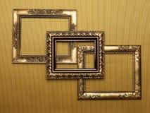 Overlappende frames op goud Stock Foto