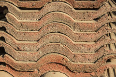 Overlapping aged brown roof tile. Picture stock images