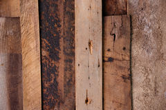 Overlapping aged wooden boards with nails Stock Photography