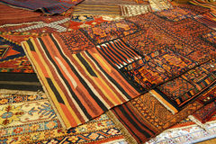 Overlapping carpets with intricate Kurdish  patterns Stock Image