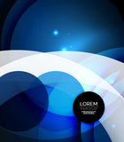 Overlapping circles on glowing abstract background. With shining light effects, blue magic style design template Stock Photos