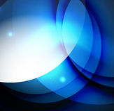 Overlapping circles on glowing abstract background. With shining light effects, blue magic style design template royalty free illustration