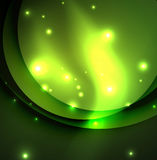 Overlapping circles on glowing abstract background. With shining light effects, green magic style design template vector illustration