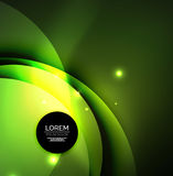 Overlapping circles on glowing abstract background. With shining light effects, green magic style design template stock illustration
