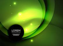 Overlapping circles on glowing abstract background. With shining light effects, green magic style design template Stock Photo