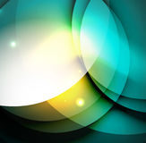 Overlapping circles on glowing abstract background. With shining light effects, magic style design template Stock Images