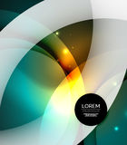 Overlapping circles on glowing abstract background. With shining light effects, magic style design template Stock Illustration