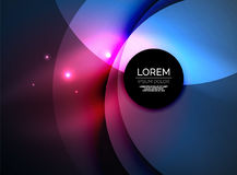 Overlapping circles on glowing abstract background. With shining light effects, magic style design template Royalty Free Stock Photography