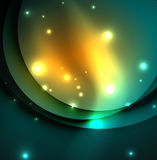 Overlapping circles on glowing abstract background. With shining light effects, magic style design template royalty free illustration