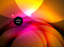 Overlapping circles on glowing abstract background Stock Photos