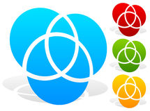 Overlapping circles icon - Contour of 3 overlapping, intersectin Stock Photography
